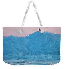 Weekender Tote Bag featuring the photograph Eagle On Ice Mackinaw City 2261803 by Rick Veldman