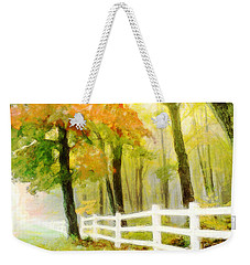Weekender Tote Bag featuring the digital art Early Autumn Morning by Chris Armytage