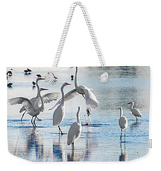 Weekender Tote Bag featuring the photograph Egret Ballet 1400 by Donald Brown