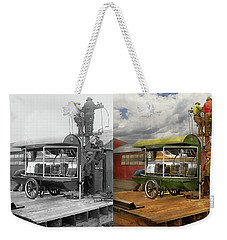 Weekender Tote Bag featuring the photograph Electrician - Linemen - Installing Search Lights 1929 - Side By Side by Mike Savad