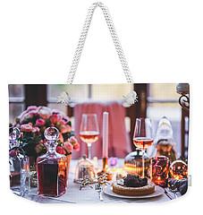 Weekender Tote Bag featuring the photograph Elegant Tablewear by Top Wallpapers
