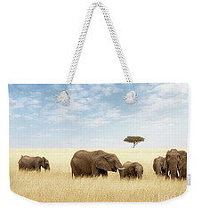 Elephant Group In The Grassland Of The Masai Mara Weekender Tote Bag