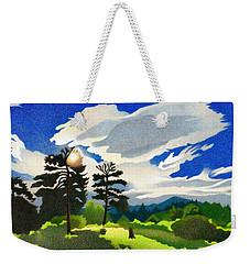 Weekender Tote Bag featuring the drawing Elk Ridge Twilight by Dan Miller