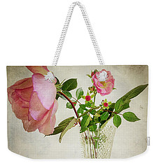 Weekender Tote Bag featuring the digital art English Rose by Edmund Nagele