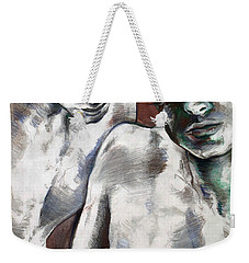 Weekender Tote Bag featuring the painting Entanged Boys by Rene Capone