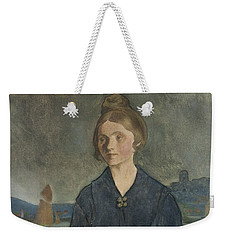 Weekender Tote Bag featuring the painting Eva With Bohus Fortress In The Background by Ivar Arosenius
