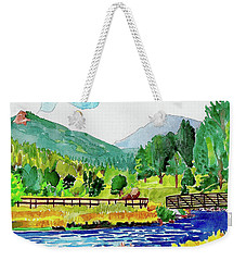 Weekender Tote Bag featuring the painting Evergreen Lake Spring Watercolor by Dan Miller