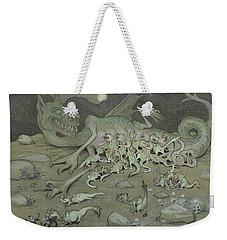 Weekender Tote Bag featuring the drawing Evil Powers by Ivar Arosenius