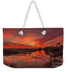 Explosive Sunset At Pine Glades Weekender Tote Bag