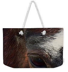 Weekender Tote Bag featuring the digital art Eye Of A Horse  by Shelli Fitzpatrick