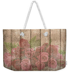 Faded Red Country Roses On Wood Weekender Tote Bag