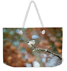 Weekender Tote Bag featuring the photograph Fall Chickadee by Sue Collura
