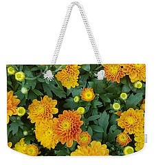 Weekender Tote Bag featuring the photograph Fall Chrysanthemums Autumn Orange by Rachel Hannah