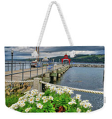 Weekender Tote Bag featuring the photograph Fall Flowers At Seneca Lake Marina by Lynn Bauer