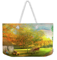 Weekender Tote Bag featuring the photograph Farm - End Of A Long Day by Mike Savad - Abbie Shores