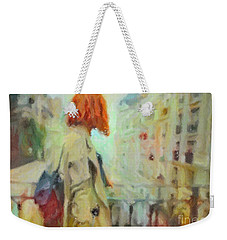 Weekender Tote Bag featuring the pastel Feel The Rain by Chris Armytage