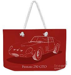 Ferrari 250 Gto - White Blueprint On Red Weekender Tote Bag