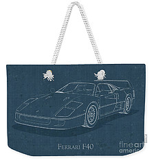 Ferrari F40 - Blueprint  Weekender Tote Bag