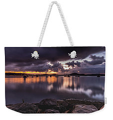 First Light With Heavy Rain Clouds On The Bay Weekender Tote Bag