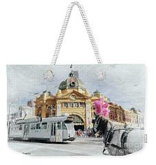 Weekender Tote Bag featuring the painting Flinders Street Station, Melbourne by Chris Armytage