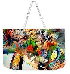 Weekender Tote Bag featuring the digital art Flower Bike by Pennie  McCracken