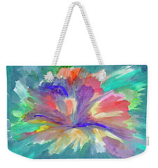 Weekender Tote Bag featuring the painting Flowering Abstract 1 by Dobrotsvet Art