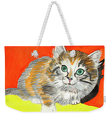 Weekender Tote Bag featuring the painting Fluffy Kitten by Dobrotsvet Art