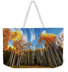 Weekender Tote Bag featuring the photograph Follow The Yellow Leaf Road by Rick Furmanek
