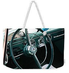 Weekender Tote Bag featuring the photograph 1955 Ford Fairlane Steering Wheel by Debi Dalio