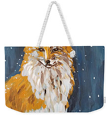 Weekender Tote Bag featuring the painting Fox Winter Night by Maria Langgle