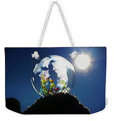Weekender Tote Bag featuring the digital art Frogs In A Bubble by Ericamaxine Price
