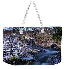 Frozen River And Winter In Forest Weekender Tote Bag