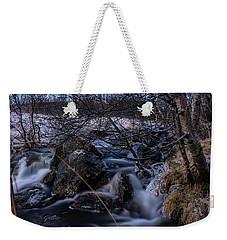 Frozen Stream In Winter Forest Weekender Tote Bag