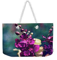 Weekender Tote Bag featuring the mixed media Fuchsia Pink Vanda Orchid by Susan Maxwell Schmidt
