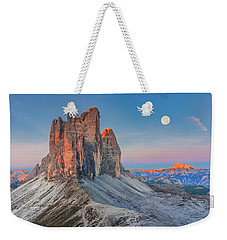 Full Moon Morning On Tre Cime Di Lavaredo Weekender Tote Bag
