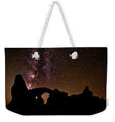 Weekender Tote Bag featuring the photograph Galactic Turret Arch by Andy Crawford