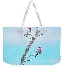 Weekender Tote Bag featuring the photograph Galahs On The Lookout by Elaine Teague