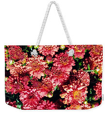 Weekender Tote Bag featuring the photograph Garnet Fall Mums by Rachel Hannah