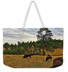Weekender Tote Bag featuring the photograph Genesee Bison Herd by Dan Miller