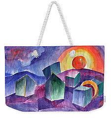Weekender Tote Bag featuring the painting Geometric Landscape by Dobrotsvet Art