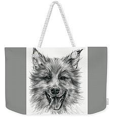 Weekender Tote Bag featuring the drawing German Shepherd Smile by MM Anderson