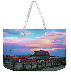 Weekender Tote Bag featuring the photograph Ghost Horses Pastel Sky Timed Stack by James BO Insogna