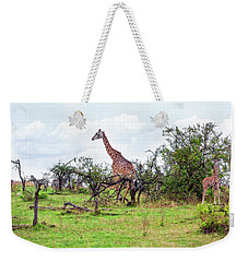 Weekender Tote Bag featuring the photograph Giraffe Landscape by Kay Brewer