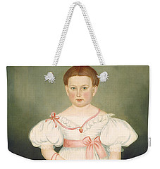 Weekender Tote Bag featuring the painting Girl With Reticule And Rose by Joseph Whiting Stock