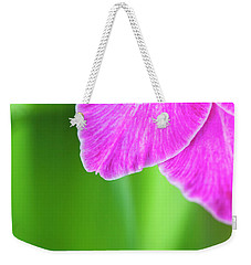 Weekender Tote Bag featuring the photograph Gladiolus Vedi Napoli Petals Abstract by Tim Gainey