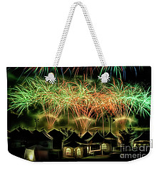 Weekender Tote Bag featuring the photograph Global Fest Light Show by Brad Allen Fine Art
