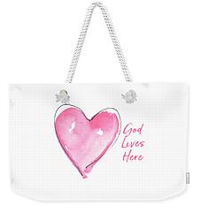 God Lives Here Weekender Tote Bag