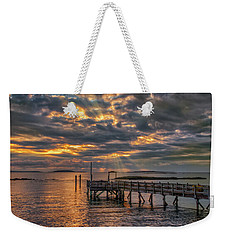 Weekender Tote Bag featuring the photograph Godrays Over The Pier by Guy Whiteley