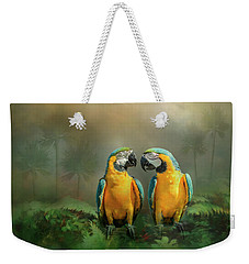 Gold And Blue Macaw Pair Weekender Tote Bag