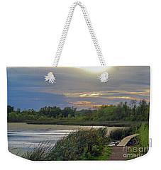 Golden Sunset Over Wetland Weekender Tote Bag